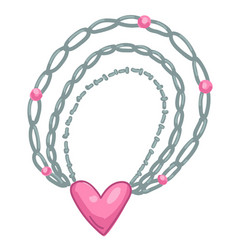 Silver chain necklace with pink heart pendant vector