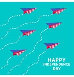 Six paper planes with dash line Happy independence vector