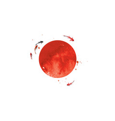 Small koi carp fishes and big red sun symbol of vector
