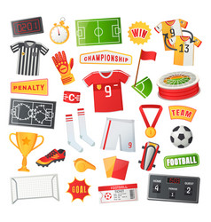 soccer symbols banner in cartoon style vector image
