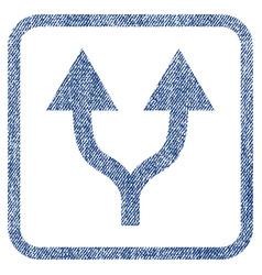 Split arrows up fabric textured icon vector