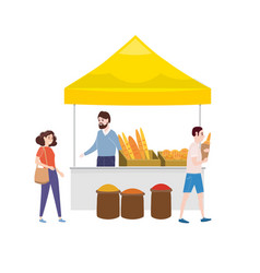 street food bakery market talls canopy and baked vector image
