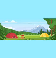 summer camping cartoon flat vector image