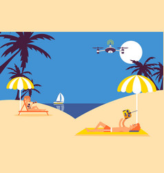 Summer vacation leisure people fly drone on beach vector