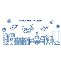 usa california fort worth winter city skyline vector image