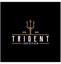 Vintage trident symbol poseidon neptune god vector