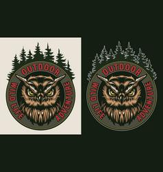Vintage wildlife colorful badge vector