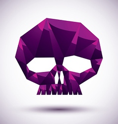 Violet skull geometric icon made in 3d modern vector