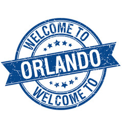 Welcome to orlando blue round ribbon stamp vector