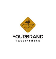 windvane rooster logo design concept template vector image