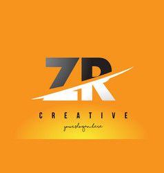 Zr z r letter modern logo design with yellow vector