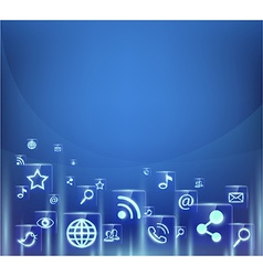 background of social media icons vector image vector image