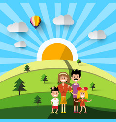 family on field natural landscape vector image