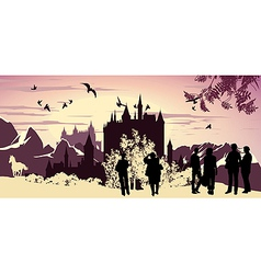 lanscape silhouettes vector image