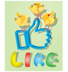 Like for Easter holiday with three chickens vector image