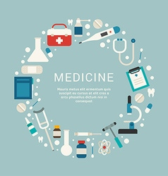 Medical Icons and Objects in the Shape of Circle vector image