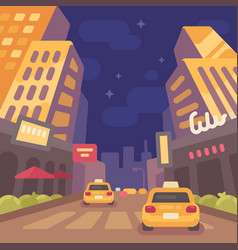 night modern city street with taxi cars low vector image