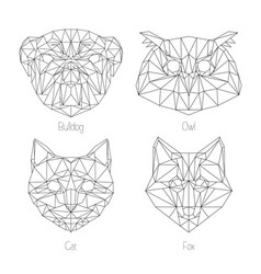 set of isolated poligonal geometric triangle vector image