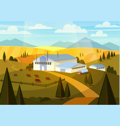 summer rural landscape with cows hills and farm vector image vector image