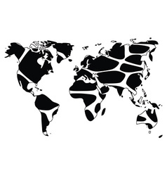 World map in animal print design black and white vector image vector image