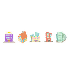 hotel icon set cartoon style vector image