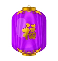 Purple chinese paper lantern icon cartoon style vector image vector image