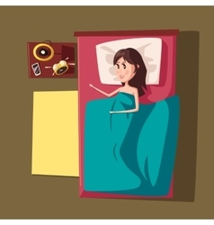 Sleeping girl or woman at bed vector image