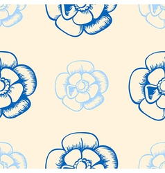 vintage seamless pattern with blue flowers vector image vector image