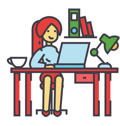 woman working on the office table office interior vector image