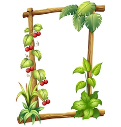 A frame made of wood with vine plants vector image