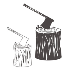Axe on stump silhouette vector image