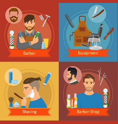 barber flat style compositions vector image vector image