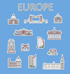 european traveling labels set in linear style vector image vector image