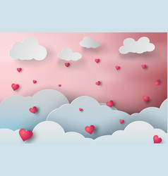paper art of rainny love cloudscape with heart vector image vector image