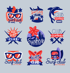 surfing club logo templates set surf club emblem vector image