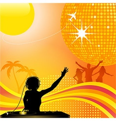 abstract summer background with DJ and disco ball vector image vector image