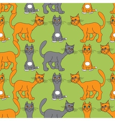 Cat gray and red vector image