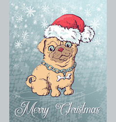 christmas poster with dog portrait in red santa s vector image vector image