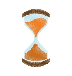 Hand draw clock glass sand business money color vector