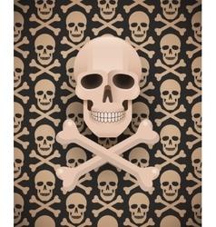 Huge skull on seamless dark pattern vector image vector image