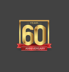60 years anniversary logo style with golden vector