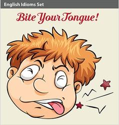 A man biting his tongue vector