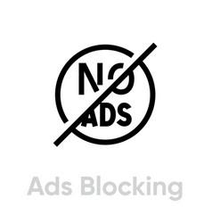Ads blocking icon editable line vector