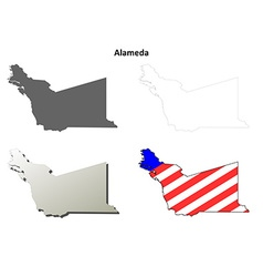 Alameda County California outline map set vector