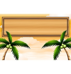 An empty wooden signboard with coconut trees vector image
