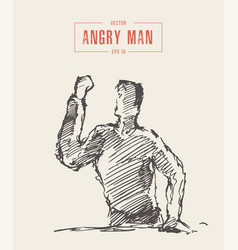 Angry man fist raised hand drawn sketch vector