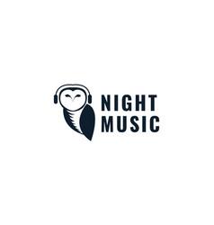 Animal bird owl with headphone silhouette logo vector