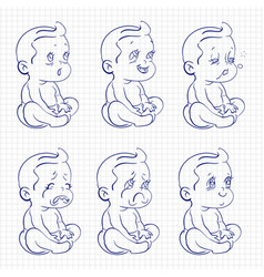 Baby sketch ballpoint pen vector