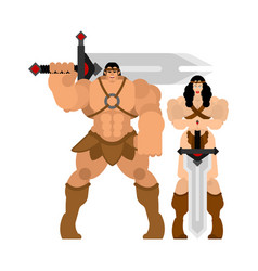 Barbarian warrior couple woman and man berserk vector