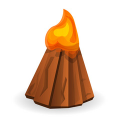 Big campfire icon cartoon style vector